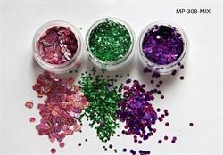 конфетти (камифубуки ) для ногтей (набор) цветная голография - фото 5722