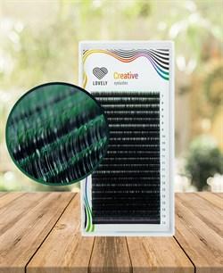Ресницы двухтоновые зеленые Lovely 20 линий MIX D 7-13 - фото 7272