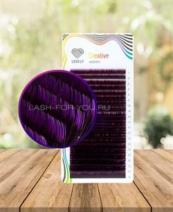 Ресницы двухтоновые фиолетовые Lovely 20 линий MIX C 7-13 - фото 7275