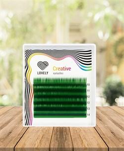 Ресницы зелёные (green) Lovely MINI 6 линий MIX C 10-14 - фото 7281