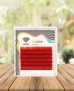 Ресницы красные (red) Lovely MINI 6 линий MIX D 10-14 - фото 7286