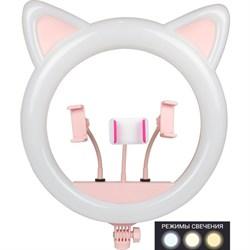 Кольцевой осветитель с ушками . CAT . 45 см. Розовый - фото 7718