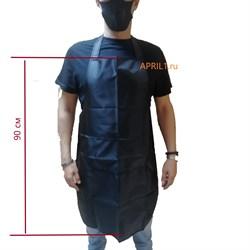 Фартук чёрный 90 см. Два кармана . - фото 7752