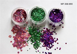 конфетти (камифубуки ) для ногтей (набор) цветная голография