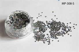 конфетти (камифубуки ) для ногтей .набор-голография серебро