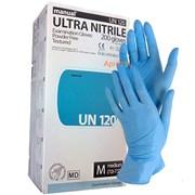 Перчатки нитриловые. Размер M голубые. 200 штук. Heliomed